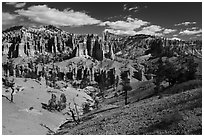 Mesa with hoodoos seen from below. Bryce Canyon National Park ( black and white)