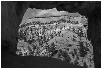 Mesa seen through natural window of Tower Bridge. Bryce Canyon National Park ( black and white)