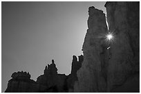 Sun shining between hoodoos. Bryce Canyon National Park ( black and white)