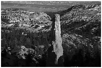 Monolithic hoodoo and amphitheater. Bryce Canyon National Park ( black and white)