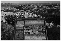 Hike the Hoodoos Rim Trail interpretive sign. Bryce Canyon National Park ( black and white)
