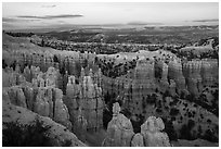Amphitheater near Fairyland Point at dusk. Bryce Canyon National Park ( black and white)