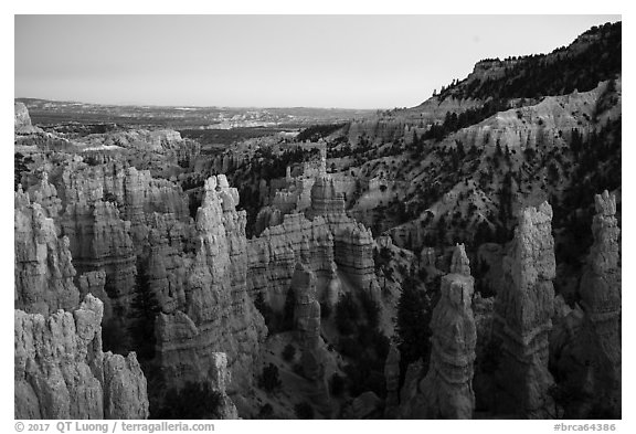 Hooodoos and canyon at dusk, Fairyland Point. Bryce Canyon National Park (black and white)
