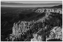Pink cliffs and forest at sunrise from Rainbow Point. Bryce Canyon National Park ( black and white)