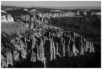 Pink cliffs towards the south from Rainbow Point, sunrise. Bryce Canyon National Park ( black and white)
