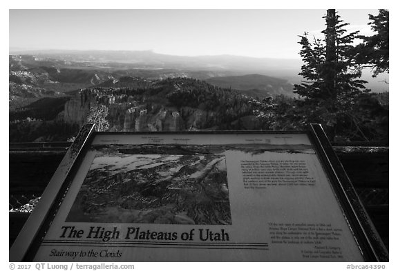High Plateaus of Utah interpretive sign. Bryce Canyon National Park (black and white)
