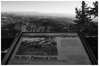 High Plateaus of Utah interpretive sign. Bryce Canyon National Park ( black and white)