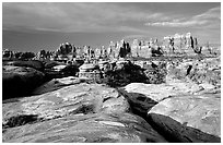 Needles near Elephant Hill, sunrise. Canyonlands National Park, Utah, USA. (black and white)