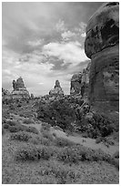 Sandstone towers, Chesler Park. Canyonlands National Park, Utah, USA. (black and white)