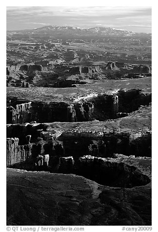 Monument basin from Grand View Point, Island in the Sky, late afternoon. Canyonlands National Park (black and white)