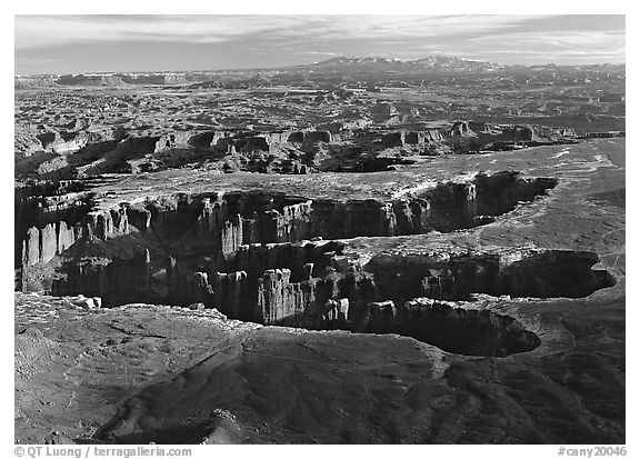 Maze of interlocked canyons from Grand view point, Island in the sky. Canyonlands National Park (black and white)