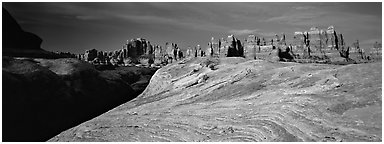 Swirls and sandstone pinnacles, Needles District. Canyonlands National Park (Panoramic black and white)