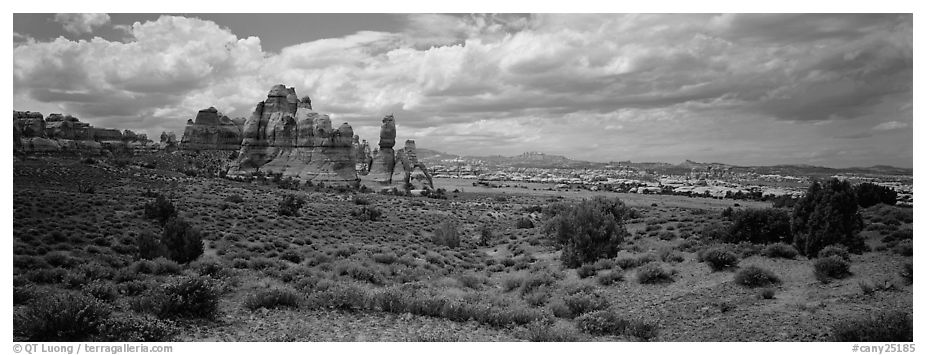 Chessler Park and rock formations, Needles District. Canyonlands National Park (black and white)