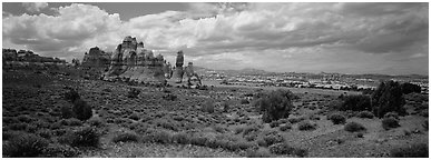 Chessler Park and rock formations, Needles District. Canyonlands National Park (Panoramic black and white)