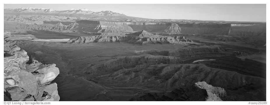 Canyon landscape at sunset, Dead Horse Point. Canyonlands National Park (black and white)