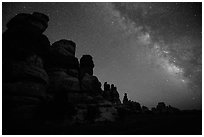 Dollhouse towers and Milky Way, Maze District. Canyonlands National Park, Utah, USA. (black and white)