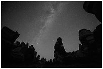 Dollhouse pinnacles and Milky Way, Maze District. Canyonlands National Park, Utah, USA. (black and white)
