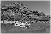 Rafts and cliffs, Colorado River. Canyonlands National Park ( black and white)