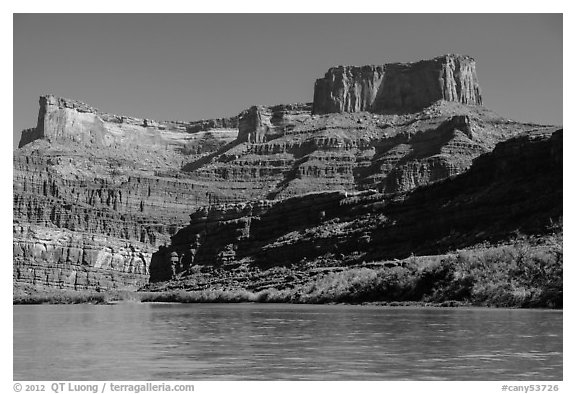 Dead Horse point seen from Colorado River. Canyonlands National Park (black and white)