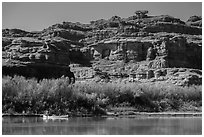 Canoeists and cliffs, Colorado River. Canyonlands National Park ( black and white)