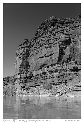 Red cliffs above Colorado River. Canyonlands National Park (black and white)