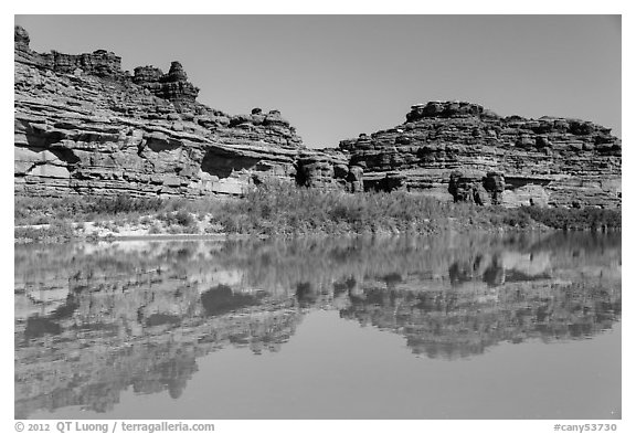 Cliffs reflected in Colorado River. Canyonlands National Park (black and white)