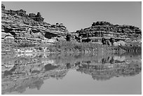 Cliffs reflected in Colorado River. Canyonlands National Park ( black and white)