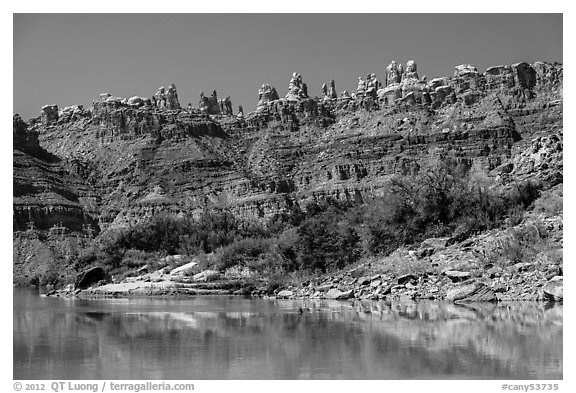 Doll House seen from the Colorado River. Canyonlands National Park (black and white)