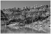 Doll House seen from the Colorado River. Canyonlands National Park, Utah, USA. (black and white)