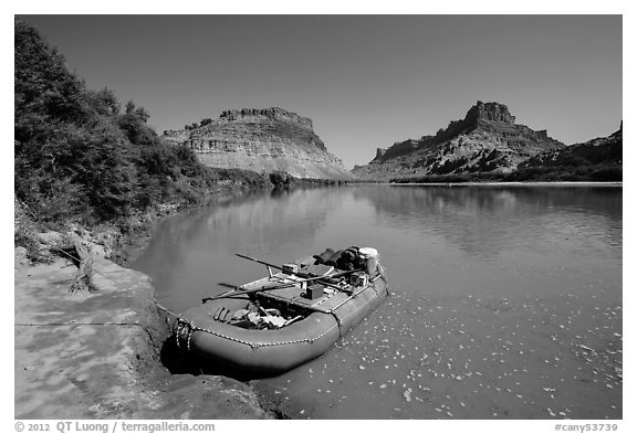 Raft on banks of the Colorado River. Canyonlands National Park (black and white)
