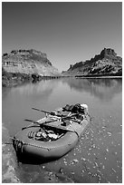 Raft at Spanish Bottom. Canyonlands National Park ( black and white)