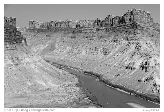Distant views of rafts floating Colorado River. Canyonlands National Park (black and white)