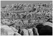 The Needles seen from the Doll House. Canyonlands National Park, Utah, USA. (black and white)
