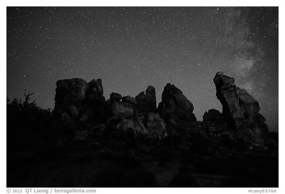Dollhouse and starry sky at night. Canyonlands National Park (black and white)