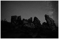 Dollhouse and starry sky at night. Canyonlands National Park, Utah, USA. (black and white)