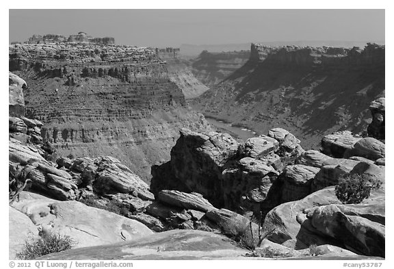Colorado River Canyon seen from Maze District. Canyonlands National Park (black and white)