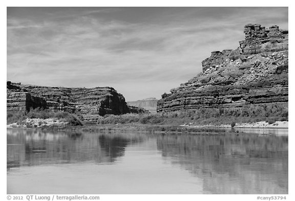 River view, Colorado River. Canyonlands National Park (black and white)