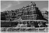 Flutted cliffs above Colorado River. Canyonlands National Park ( black and white)