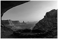 False Kiva ruin at sunset. Canyonlands National Park, Utah, USA. (black and white)