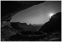 False Kiva, moon, and stars. Canyonlands National Park, Utah, USA. (black and white)