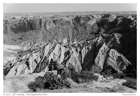Person looking, Upheaval Dome. Canyonlands National Park (black and white)