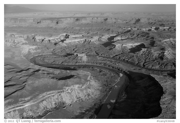 Aerial view of Bonita Bend. Canyonlands National Park (black and white)