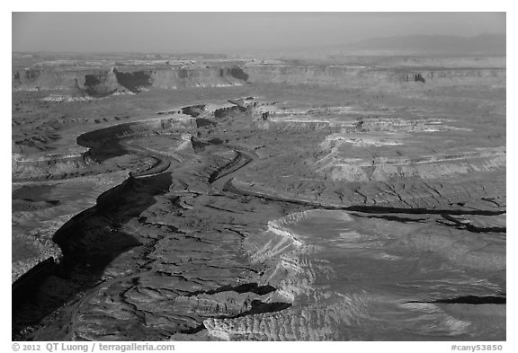 Aerial view of Green River Canyon. Canyonlands National Park (black and white)