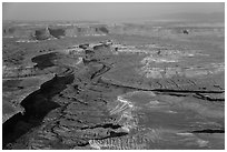 Aerial view of Green River Canyon. Canyonlands National Park ( black and white)
