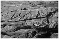 Aerial view of Maze canyons. Canyonlands National Park ( black and white)