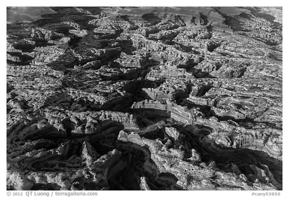 Aerial view of the Maze. Canyonlands National Park (black and white)