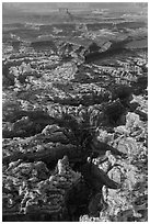 Aerial view of Maze and Elaterite Butte. Canyonlands National Park ( black and white)