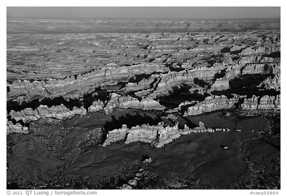 Aerial view of Chesler Park. Canyonlands National Park (black and white)