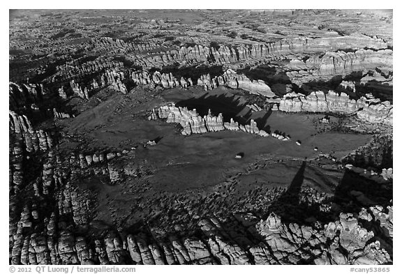 Aerial view of Chesler Park and Needles. Canyonlands National Park (black and white)