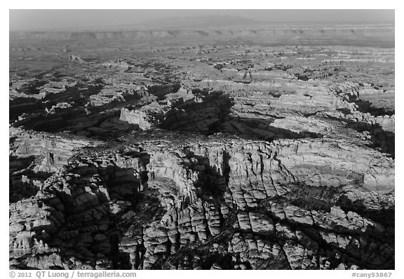 Aerial view of pinnacles and canyons, Needles. Canyonlands National Park (black and white)